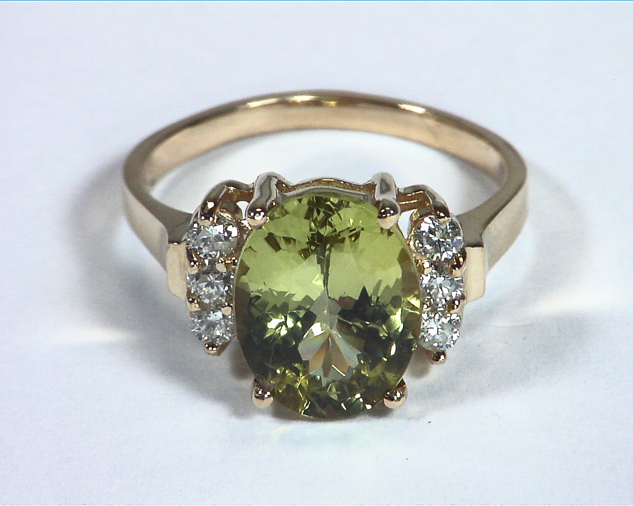 Chrysoberyl Natural Genuine Gemstone With Diamond Lady,s Ring RFK,367 5
