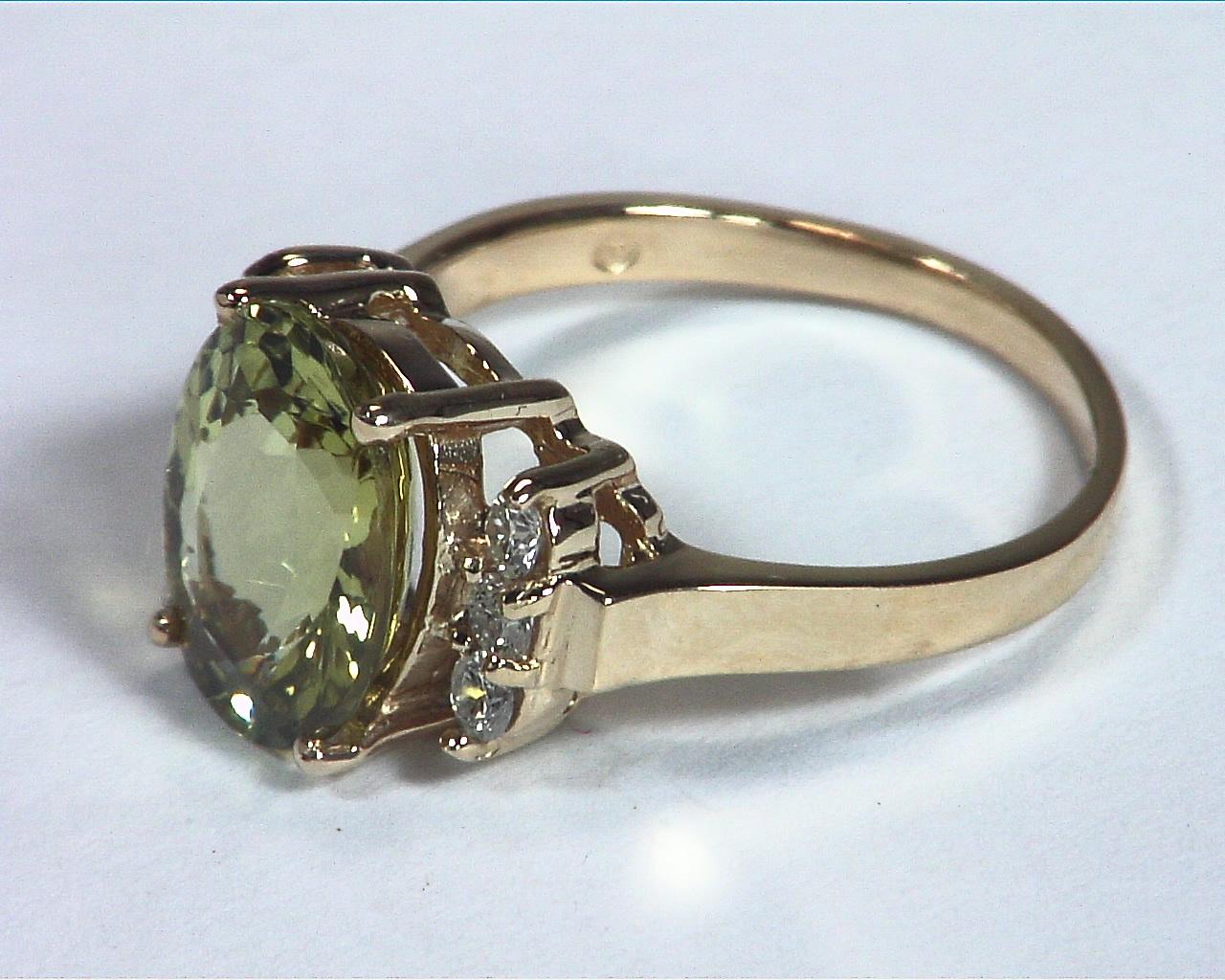Chrysoberyl Natural Genuine Gemstone With Diamond Lady,s Ring RFK,367 4