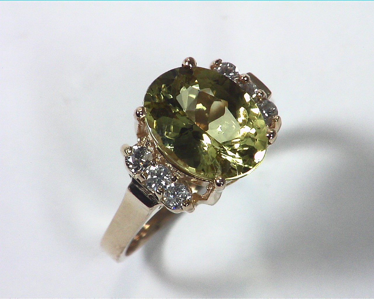 Chrysoberyl Natural Genuine Gemstone With Diamond Lady,s Ring RFK,367