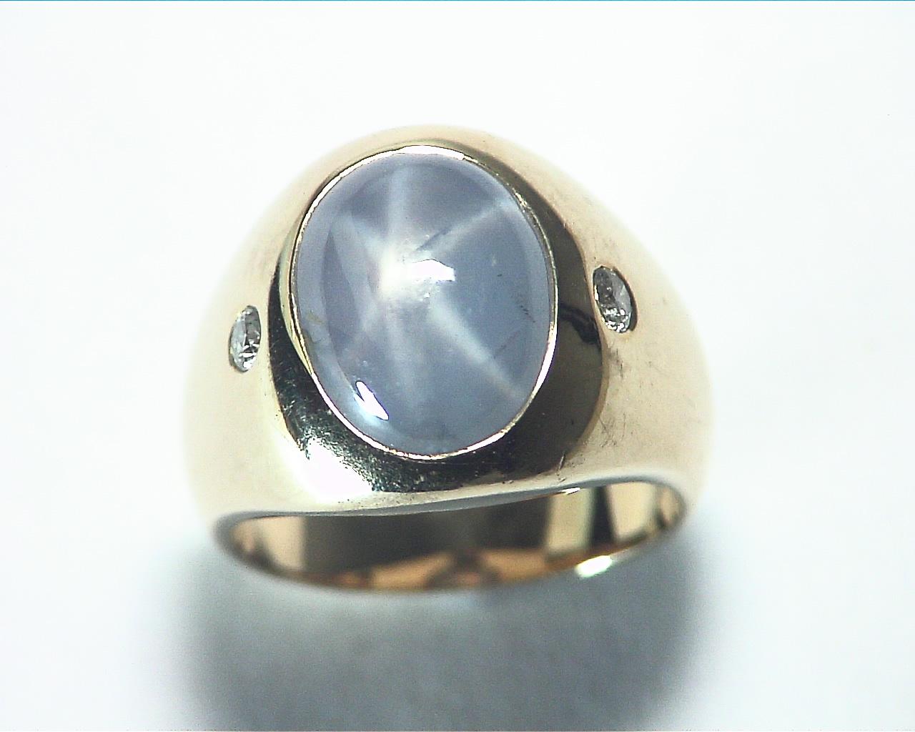Star Sapphire Natural Genuine Gemstone 14 kt Gold Lady,s Ring RFK375