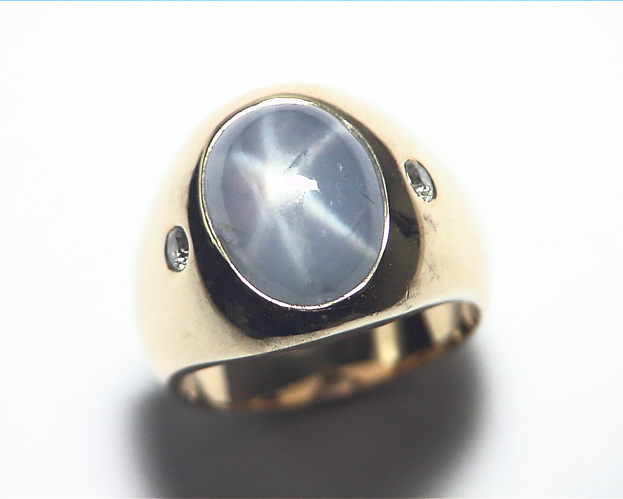 Star Sapphire Natural Genuine Gemstone 14 kt Gold Lady,s Ring RFK375 3