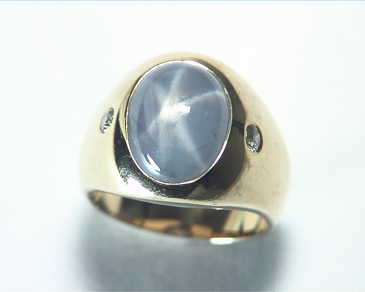 Star Sapphire Natural Genuine Gemstone 14 kt Gold Lady,s Ring RFK375 5