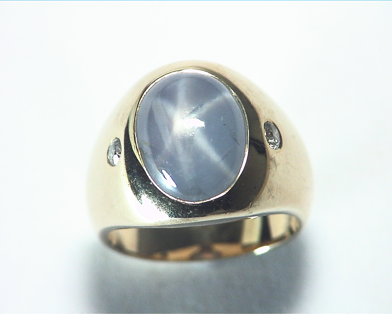 Star Sapphire Natural Genuine Gemstone 14 kt Gold Lady,s Ring RFK375 6