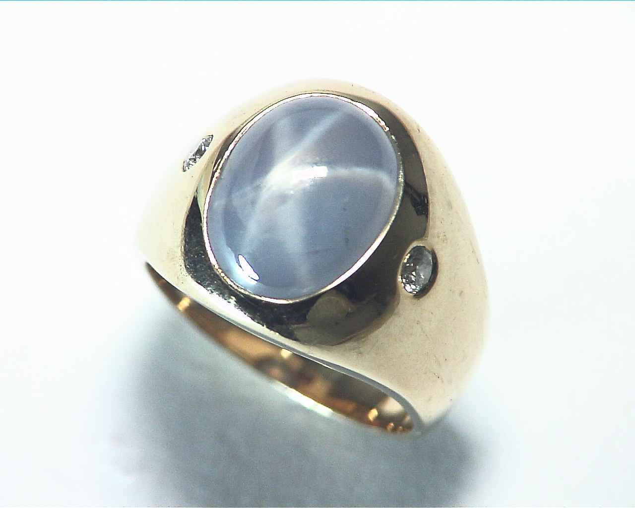 Star Sapphire Natural Genuine Gemstone 14 kt Gold Lady,s Ring RFK375 7