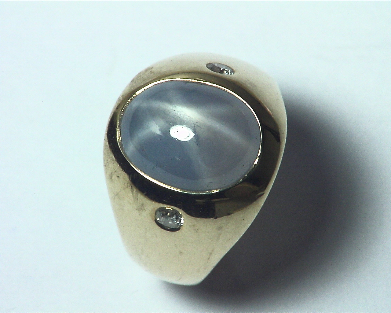 Star Sapphire Natural Genuine Gemstone 14 kt Gold Lady,s Ring RFK375 8