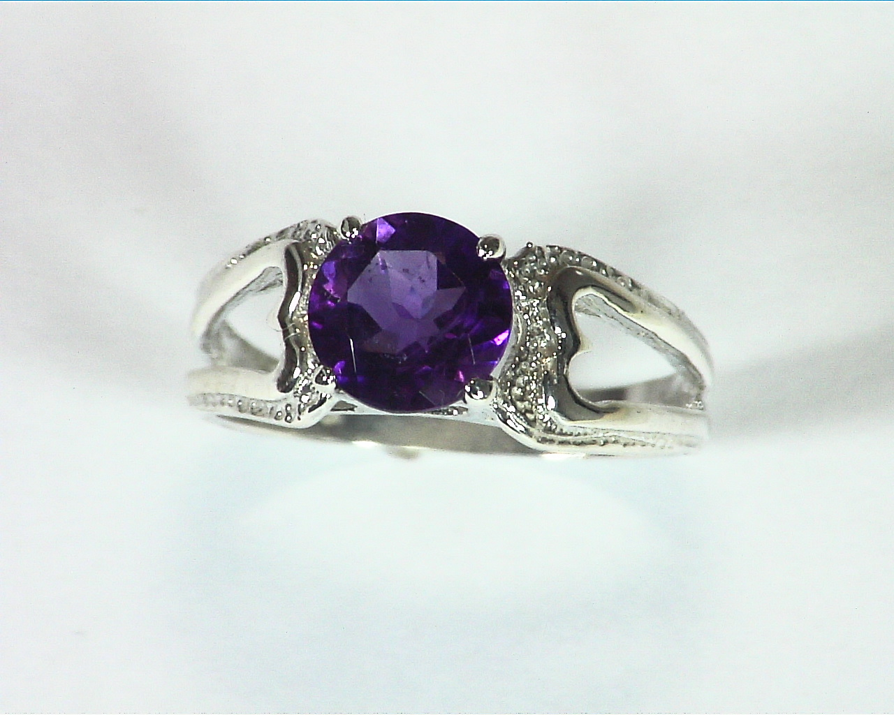 Amethyst Natural Genuine Gemstone Sterling Silver Ring RSS,350