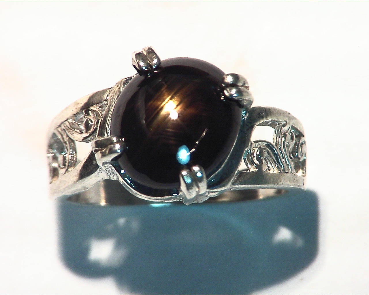 Black Star Sapphire Natural genuine Gemstone set in Sterling Silver Ring.RSS485