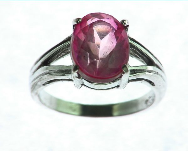 Pink Quarts Ring Set In Sterling Silver 1