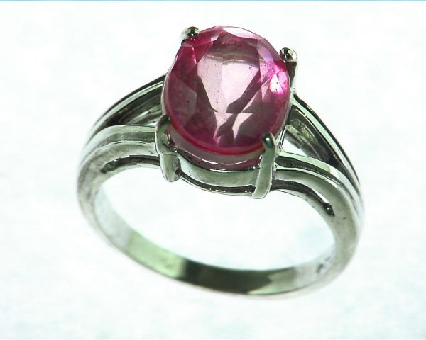 Pink Quarts Ring Set In Sterling Silver 4