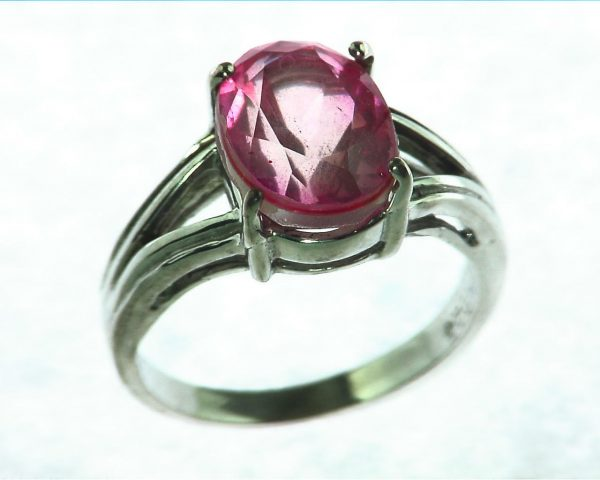 Pink Quarts Ring Set In Sterling Silver 5