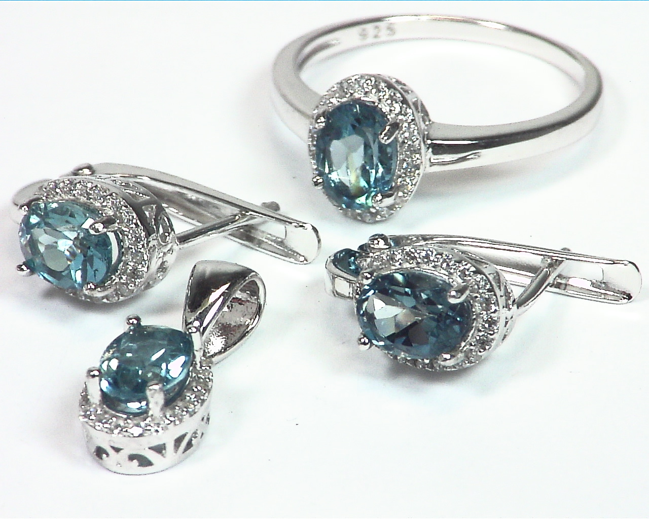 Blue Topaz Genuine Gemstone Sterling Silver Set SSS,787