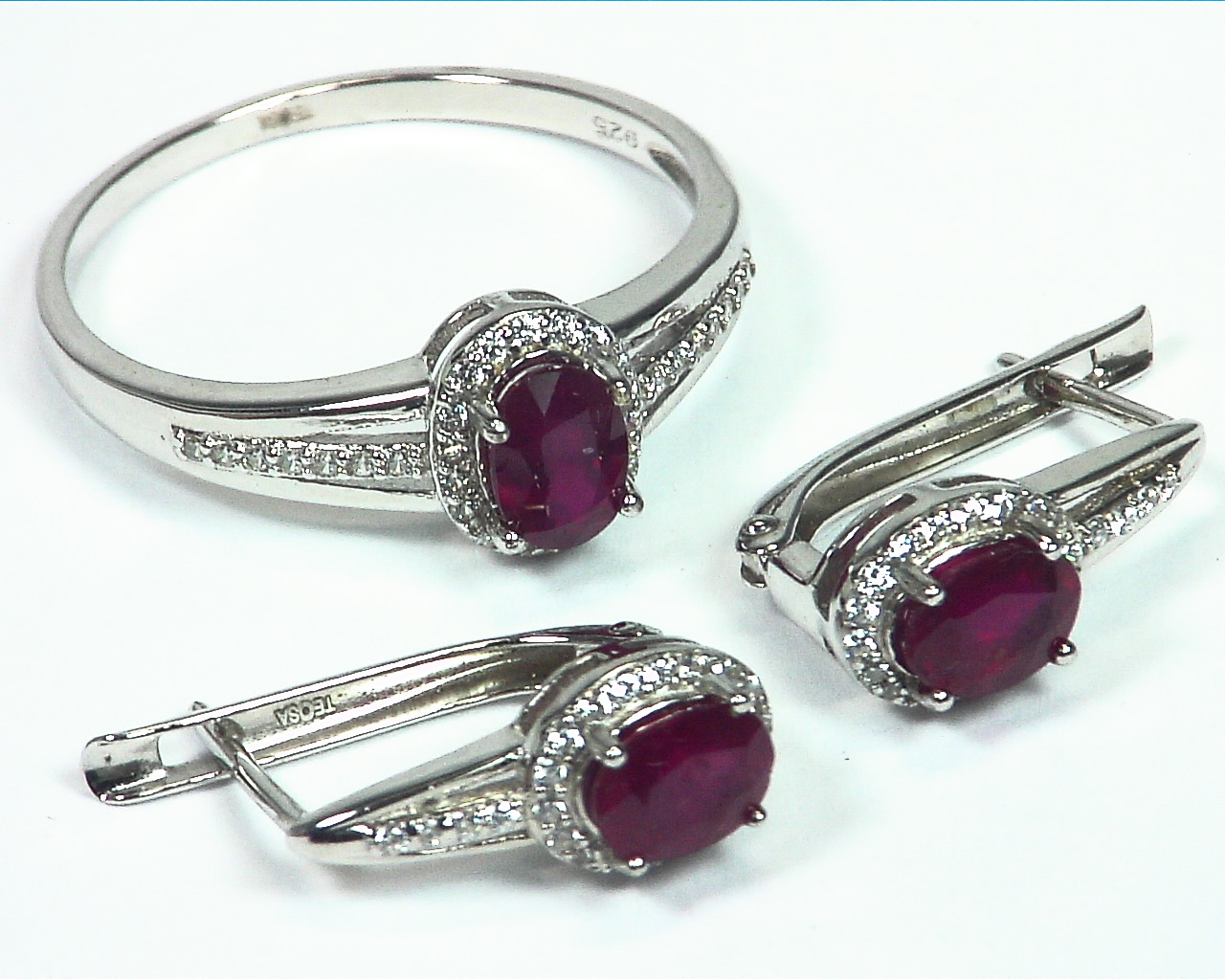Ruby Natural Genuine Gemstone Sterling Silver Ring and Earring SSS,788