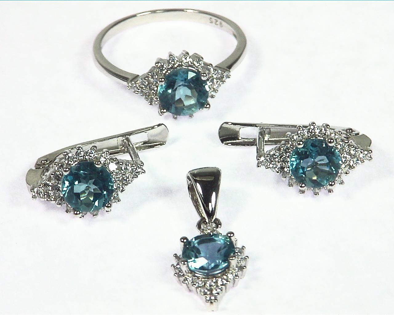 Blue Zircon Natural Genuine Gemstone Sterling Silver Set SSS,789