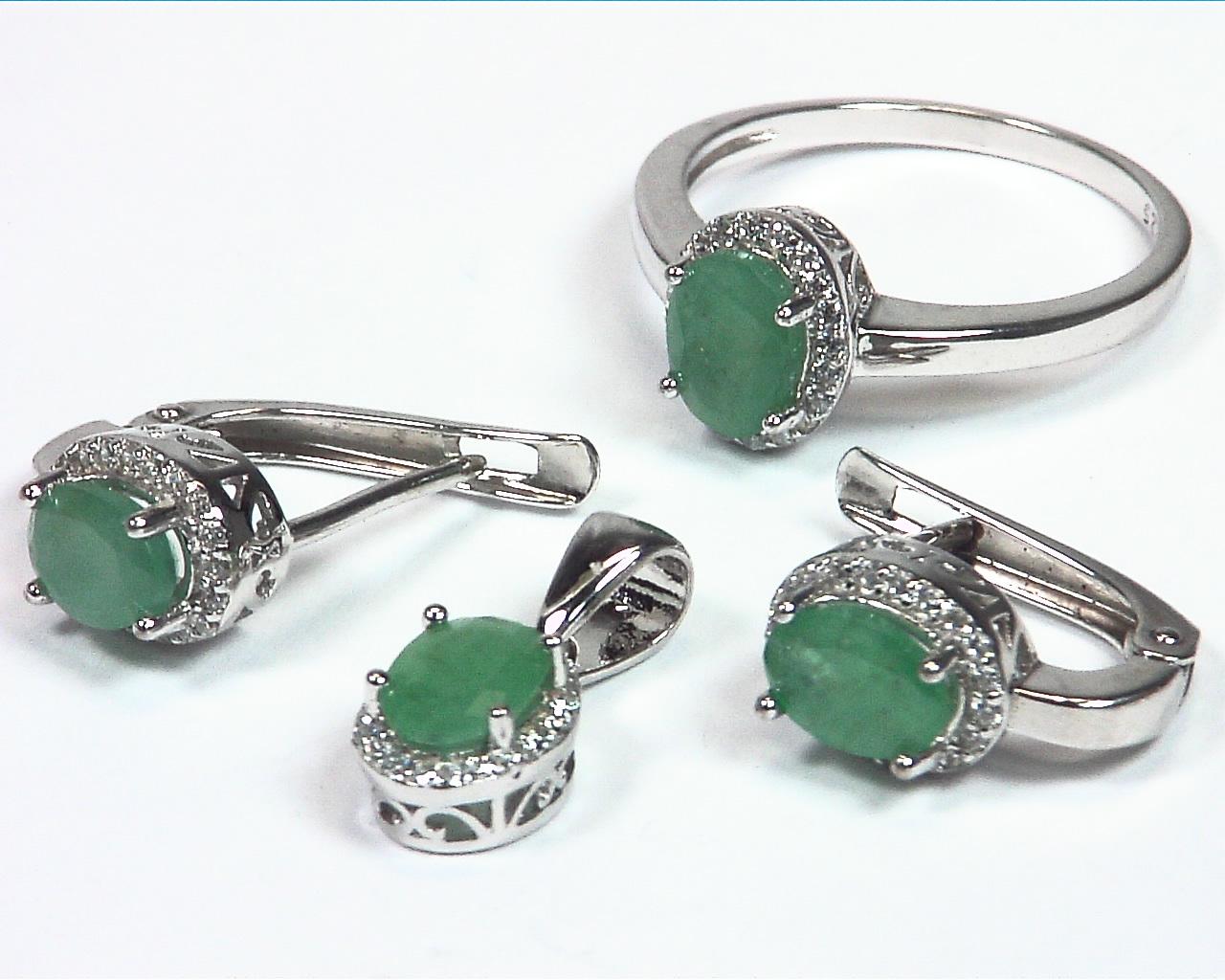 Emerald Natural Genuine Gemstone Set in Sterling Silver SSS,790
