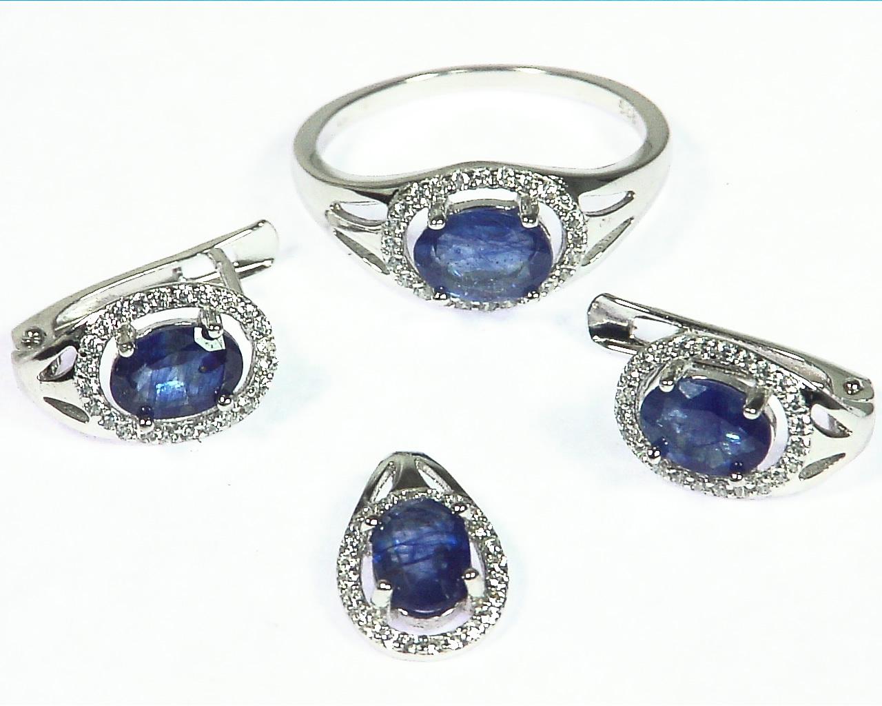 Blue Sapphire Natural Genuine Gemstone Sterling Silver Set SSS,791